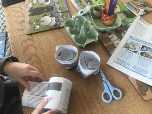 seed pots made from newspaper